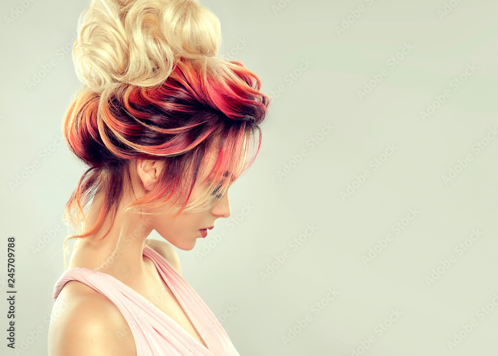 Fototapety, obrazy: Beautiful model girl  with elegant  multi colored hairstyle . Stylish Woman with fashion  hair  color highlighting.   Creative  red and pink roots ,   trendy  coloring.