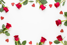 Flowers Composition. Frame Made Of Red Rose On White Background. Flat Lay, Top View, Copy Space.