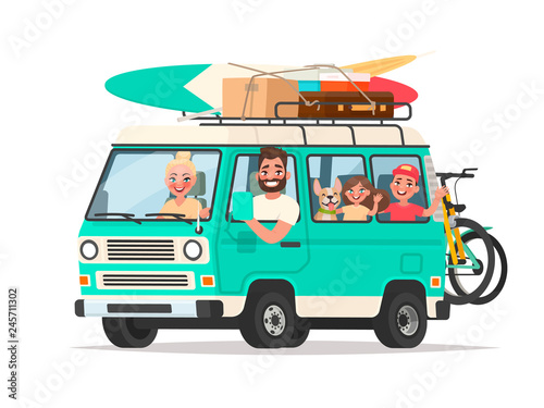 Obraz na plátne Happy family traveling in a touring van with luggage and bicycles on a white bac