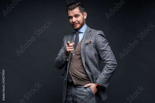 Fotografie, Obraz  Portrait of young man pointing with his finger