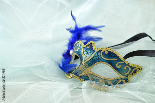 Fototapeta Photo of elegant and delicate silver and blue venetian mask over mint chiffon background