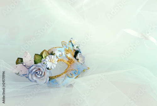 Fotografie, Obraz  Photo of elegant and delicate blue venetian mask with floral decorations over mint chiffon background