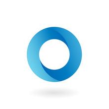 O Letter Blue Flat Vector Logo Template