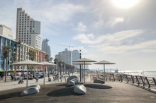 TEL AVIV, ISRAEL - JANUARY 23, 2019: Public Beach Promenade With Some Of Its Hotels
