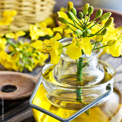 Tuinposter Kruiderij Rapeseed oil and blossoms