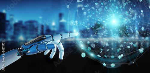 White humanoid hand using digital global network 3D rendering Wallpaper Mural