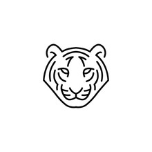 White Tiger Head Logo Vector Icon Illustration Line Outline Monoline