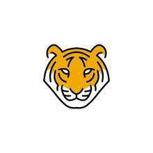 Tiger Head Logo Vector Icon Illustration Line Outline Monoline