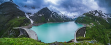 Beautiful View Of Dam At Mooserboden Lake In Austria