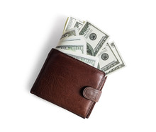 Brown Leather Wallet With Dollars On White Paper Background. Flat Lay.