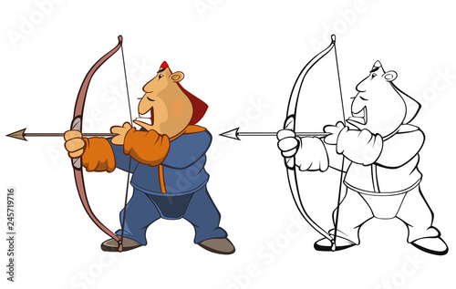 Foto op Plexiglas Babykamer Vector Illustration of a Soldier Mongol. Coloring Book Cartoon