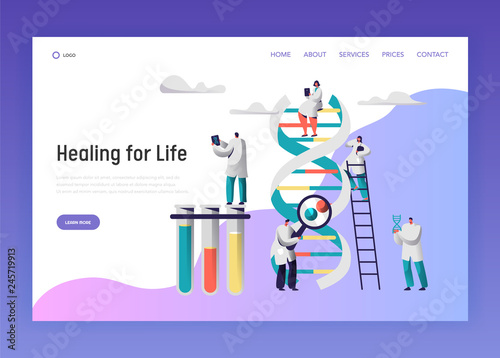 Medical Laboratory Test Dna Data Landing Page. Medical Pharmaceutical Service Equipment for Genome Research. Man Explore Radiograph for Website or Web Page Flat Vector Cartoon Illustration - 245719913