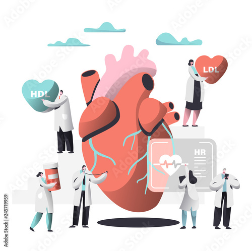 Fototapeta Doctor Diagnose Heart for Cholesterol Presence Image. Woman write Case History in Personal Card. Female bring Pharmacy Medicine Container. Human Hold Ldl Hdl Heart. Flat Cartoon Vector Illustration obraz