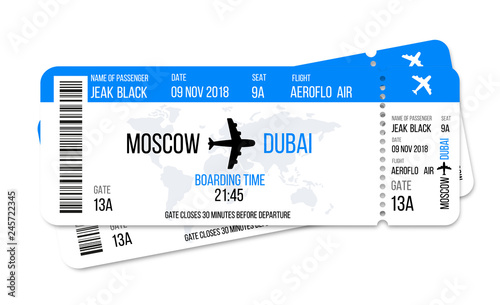 Realistic airline ticket design with passenger name Canvas Print
