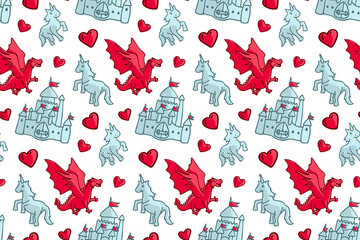 Seamless pattern with castle and fantasy creatures