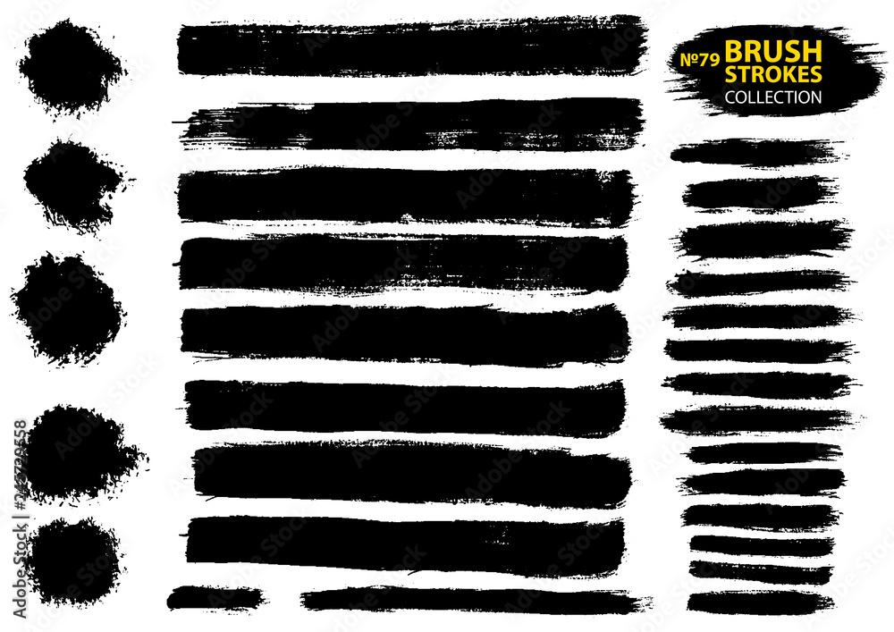 Fototapety, obrazy: Large set different grunge brush strokes. Black ink vector brush strokes.
