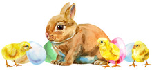 Watercolor Illustration Of A Beige Rabbit With Eggs And Chickens