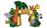 Fototapeta Fototapety na ścianę do pokoju dziecięcego - beautiful zoo entrance gate vector illustration