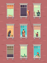 Windows With People. Opened Window Neighbors People Communicate Apartment Building Exterior Exercising At Home Morning