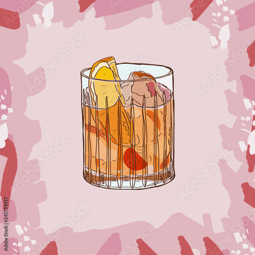 Recess Fitting Birds in cages Old fashioned cocktail illustration. Alcoholic bar drink hand drawn vector. Pop art