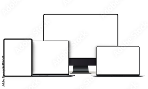 Fotografia  Set of modern devices mockups with blank frameless screens: monitor, laptop, tablet computer