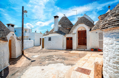 Town of Alberobello, village with Trulli houses in Puglia region, Southern Italy Canvas Print