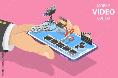 Isometric flat vector concept of video editing app, multimedia production, video blogging, motion design Fotobehang