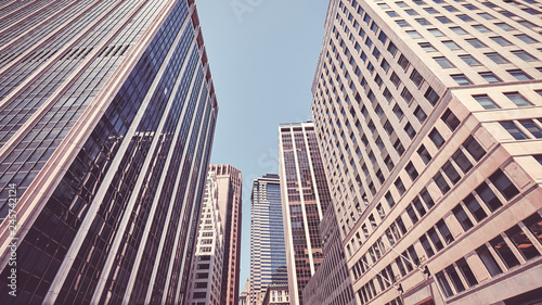 New York City financial district architecture, color toning applied, USA.