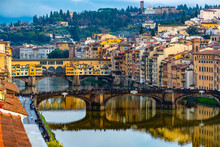 Ponte Vecchio And Ponte Santa Trinita, Florence, Italy