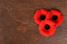 Closeup Of Three Remembrance Day Poppies