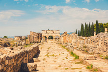 Panorama Ancient Greco Roman City. Ruins Of Ancient City, Hierapolis In Pamukkale, Turkey. Ruined Ancient Place