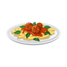 Vector Design Of Pasta And Carbohydrate Sign. Set Of Pasta And Macaroni Stock Symbol For Web.