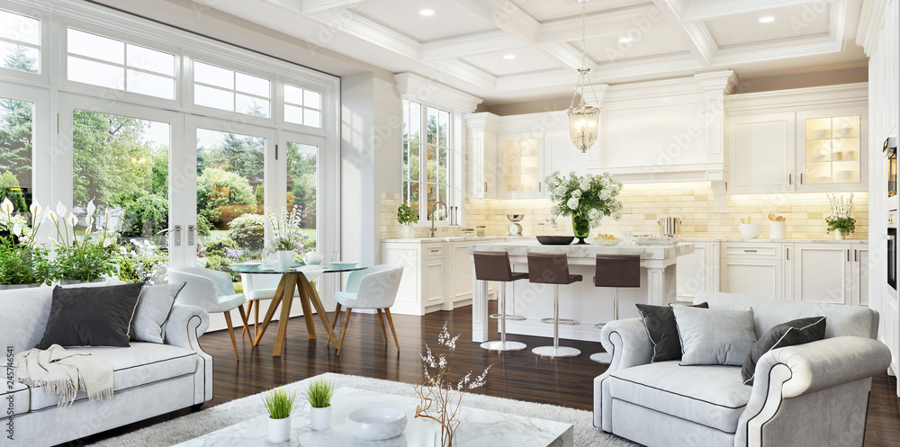 Fototapety, obrazy: Luxurious white kitchen and living room in a big house