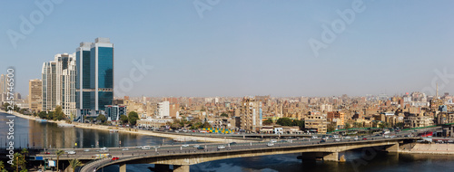 Panoramic view of the 15th May bridge, the Nile river & the Corniche Street in central Cairo.