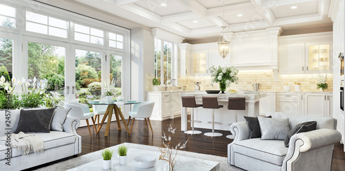 Poster Dogs Luxurious white kitchen and living room in a big house