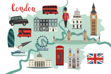 London Illustrated Map Vector....