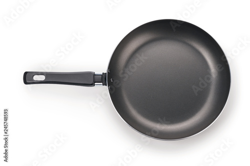 Stampa su Tela Black frying pan isolated on white with clipping path