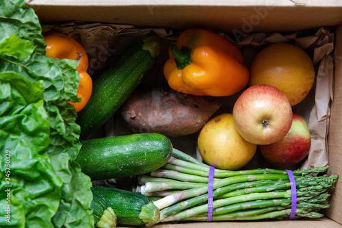 Fotografie, Obraz  Fresh fruit and vegetables in a box