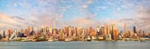 New York City Manhattan Skyline Panorama At Sunset Over Hudson River