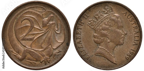 Fotografia  Australia Australian coin 2 two cents 1989, Frilled Lizard right to digit of val