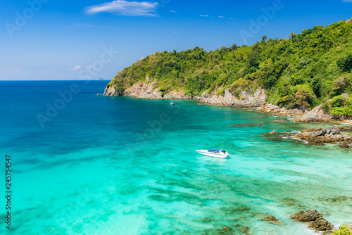 Tropical white sand beach Aerial