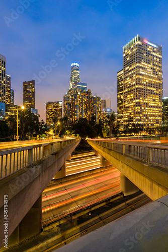 Fotobehang Amerikaanse Plekken Los Angeles Downtown Sunset