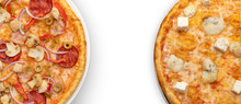 Two Pizzas On A White Background. Fragments Of Pizzas On The Edges Of The Frame And With Free Space In The Center. Menu