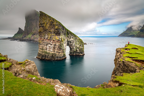 Drangarnir rocks at Faroe Islands, Europe Tablou Canvas