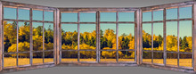 Autumn Trees Leaves Multicolored Wooden Window