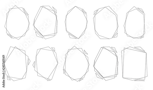 Fototapety, obrazy: Polygonal frames set. Gold triangles, geometric shapes.