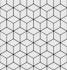 Naklejka 3D Seamless op art geometric pattern. 3D illusion. White isometric background and texture.