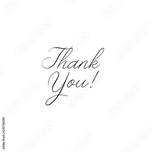 Poster Positive Typography Thank You handwritten inscription. Hand drawn lettering. Thank You calligraphy. Thank you card. Vector illustration isolated on white.