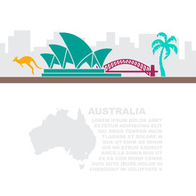 Leaflet With A Map And Symbols Of The Australia And Place For Text