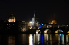 Charles Bridge In Prague By Night